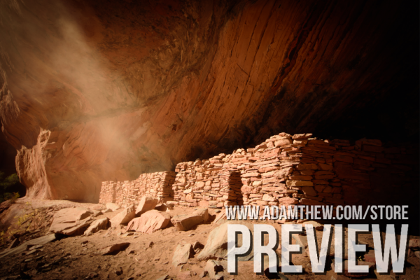 Light Shines On Ancient Cliff Dwellings
