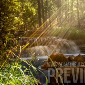 Rays Of Light Shine Over Peaceful Creek